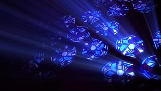 Modern Glass Blue Flowers