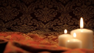 Three Candles Red Fabric