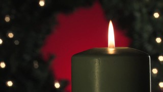 Wreath Candle On Red