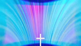 Chromatic Light Blue Burst Cross